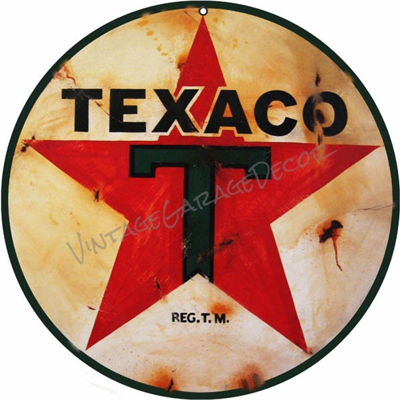 Vintage Style - Made to Look Old - Texaco 1936 Logo ( Star ) Round Metal  Sign, Rusted