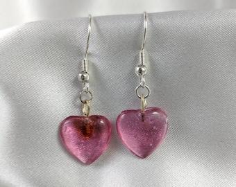 Glass heart earrings #244