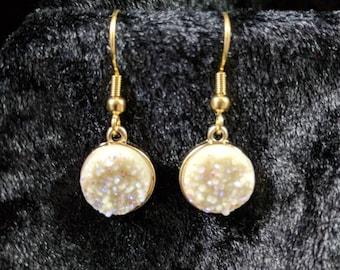 White druzy earrings #436