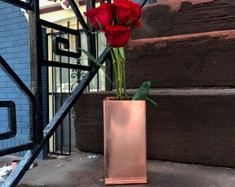 Copper flower planter
