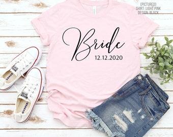 Personalized Bride Shirt   Custom Year   Mrs Tee   Wife Shirt   Newlyweds   Honeymoon   Anniversary   Wedding Gift   Bridal Shower   Engaged