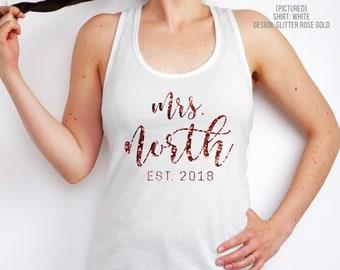 Personalized Mrs Tank Top | Custom Bride Tank | Wife Shirt | Racerback | Newlyweds | Honeymoon | Wedding Year | Bridal Shower Gift | Engaged