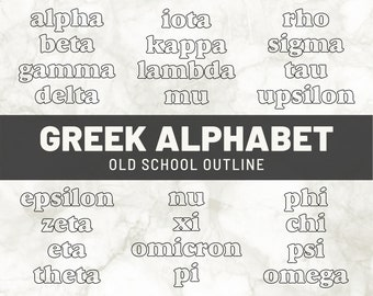 Greek Alphabet Words SVG | Sorority Letters Digital File | DIY Big Little Gifts Shirts | Greek Life Printable Clipart Png | Dxf Eps Cut File