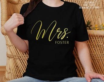 Personalized Mrs Shirt   Custom Name   Bride Tee   Wife Tshirt   Married   Newlyweds   Honeymoon   Wedding Gift   Bridal Shower   Engagement