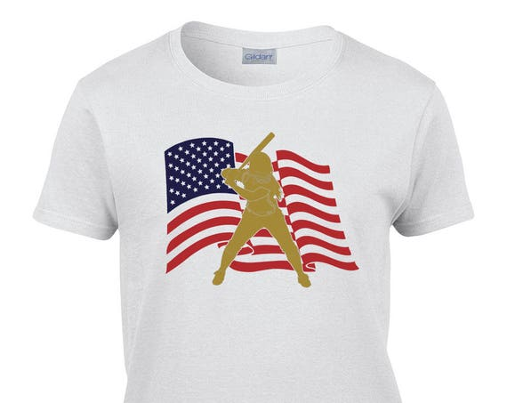 Ladies T-Shirt With US Flag Batter Print on Front