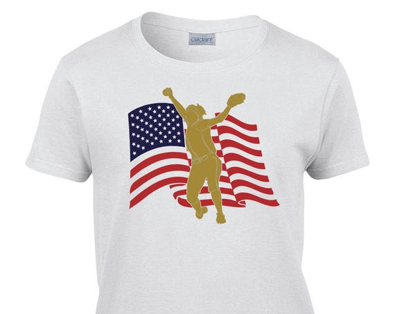 Ladies T-Shirt With US Flag Pitcher Print on Front