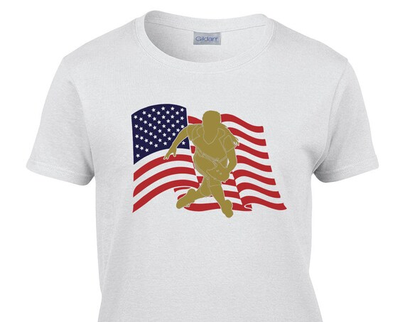 Ladies T-Shirt With US Flag Fielder Print on Front