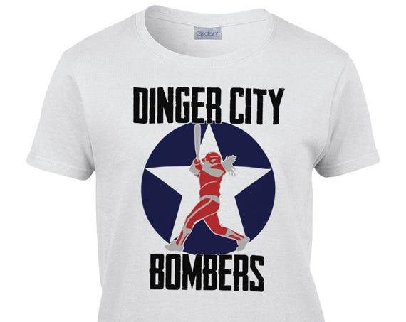Ladies T-Shirt With Dinger City Bombers Print on Front