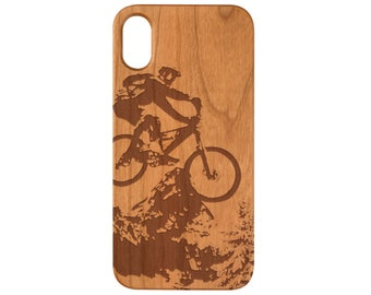 Mountain Biker 2 iPhone X XS Max iPhone 8 Plus 7 Plus 5 SE Samsung Note 9  Galaxy S9 Plus Real Natural Wood Case - FREE Shipping 8a86f009d