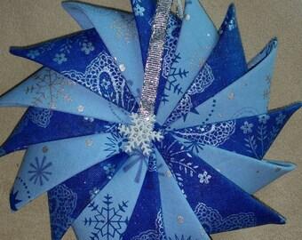 Pinwheel Fabric Ornament, Fabric Ornament, Blue snowflake Ornament