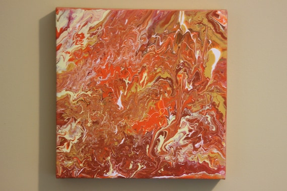 Acrylic Pour Painting Abstract Painting Fall Colors Art Autumn Decor