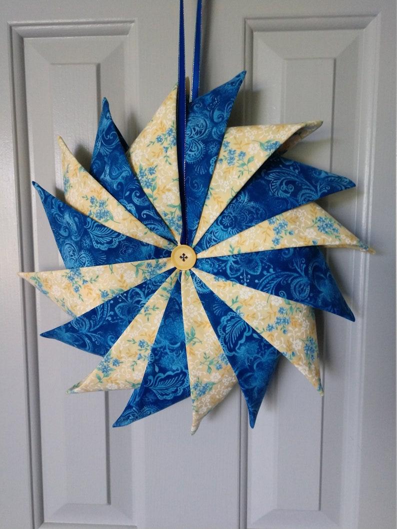 Folded Fabric Wreath Blue and Yellow Wreath Door Wreath image 0