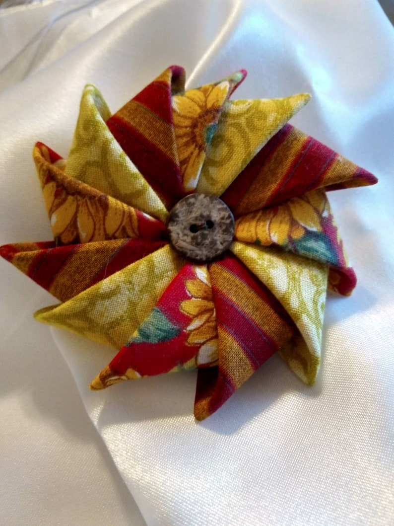 Sunflower Fabric Pin Year Round Floral Brooch Clothing image 0