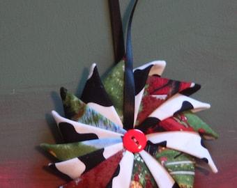 Christmas Ornament, Pinwheel Fabric Ornament, Cow Theme Ornament, Country Ornament, Farm Life Ornament
