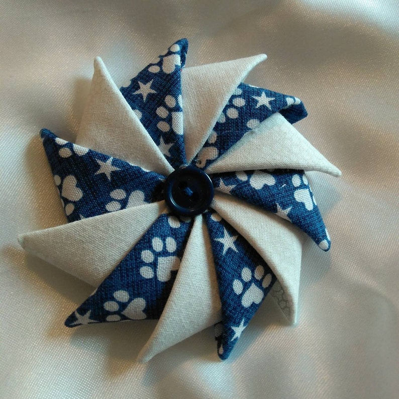 Folded Fabric Pin Dog lovers blue and white pin paw print image 0