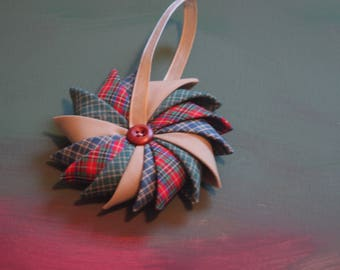 Pinwheel fabric Christmas Ornament, Ornament, Fabric Ornament, Primitive Ornament, Country Themed Decor