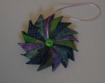 Pinwheel Ornament, Fabric Ornament, Christmas Ornament, Holiday Decor, Hanging Ornament, Stocking Stuffer, Handmade ornament