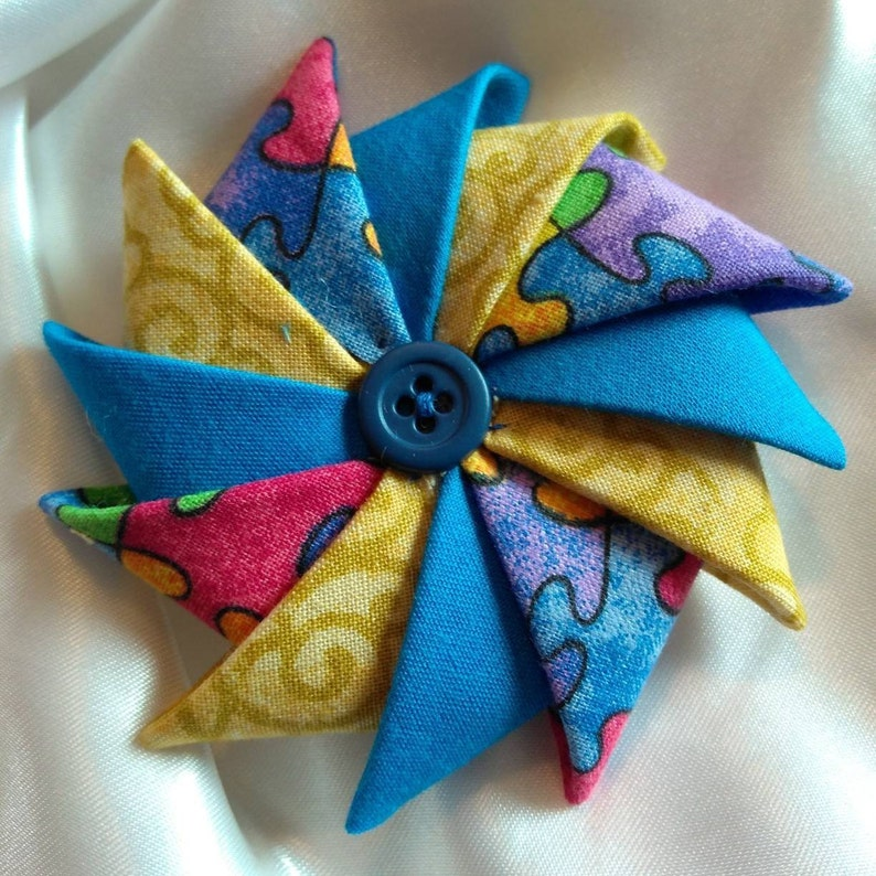 Folded Fabric Brooch Autism Awareness Pin Pinwheel Puzzle image 0