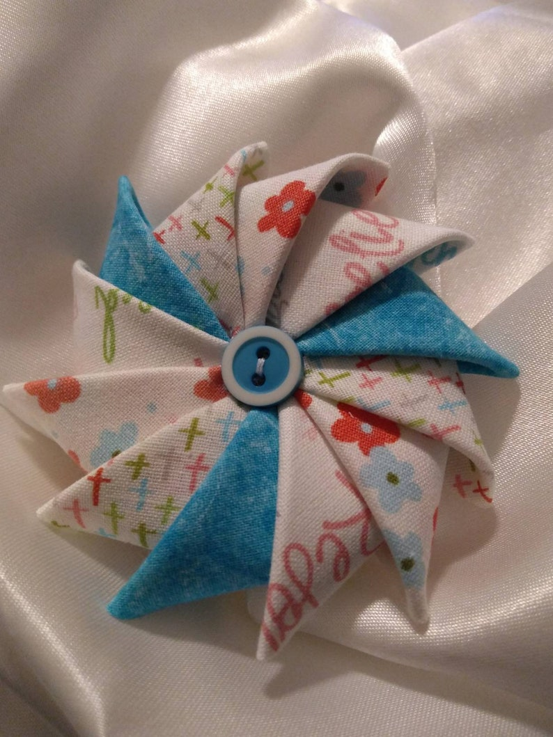 Pinwheel fabric brooch Easter themed pin image 0