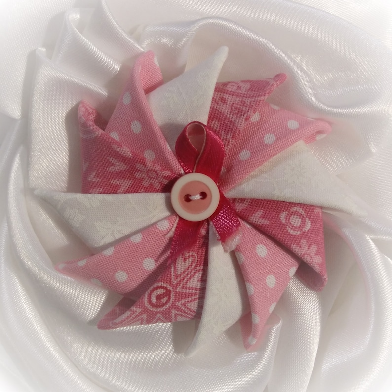 Pink and White Folded Fabric Pin Pinwheel Pin Breast Cancer image 0