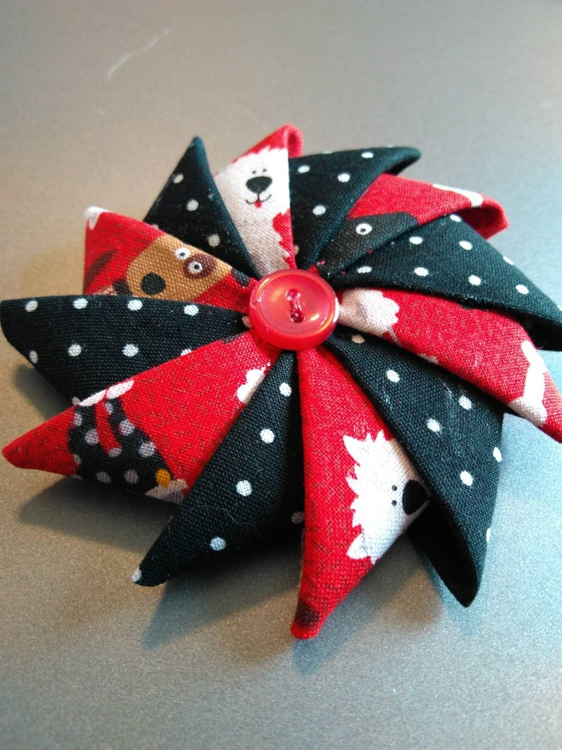 Folded Fabric Brooch Puppy Pin Pin for Dog lovers image 0