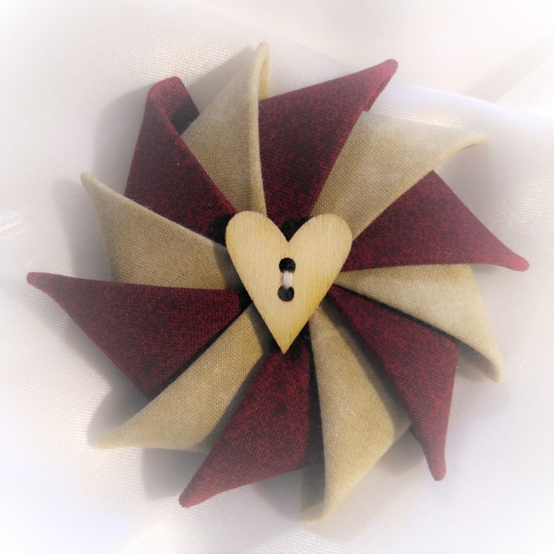 Valentine's Day Pin Pinwheel Pin Folded Fabric Pin Red image 0
