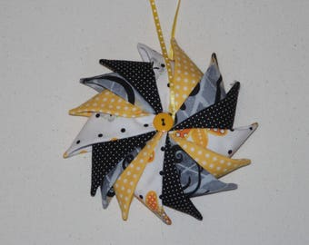 Pinwheel Ornament, Fabric Ornament, Holiday Decor, Hanging Ornament, Stocking Stuffer, Handmade ornament