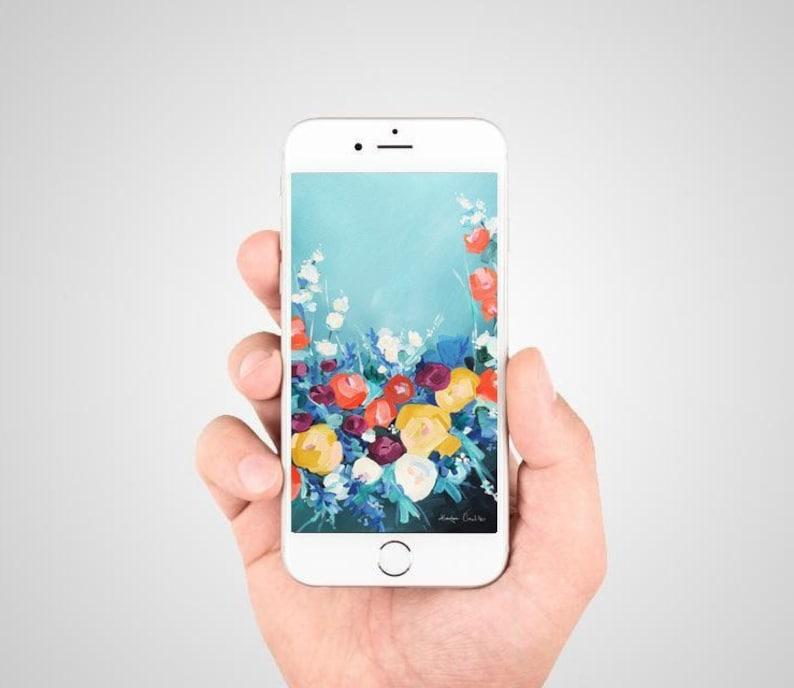 Iphone Background Instant Download Colorato Fiore Opera Per Etsy