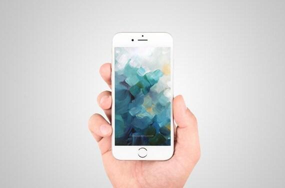 foto de IPhone fond téléchargement immédiat bleu turquoise jaune | Etsy