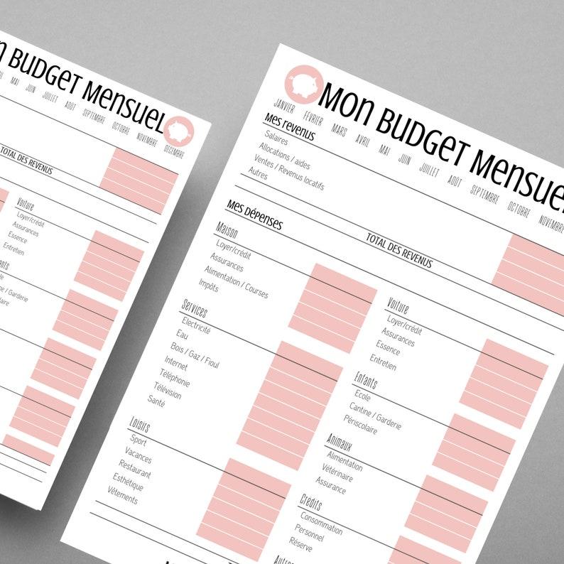 Budget mensuel rose à imprimer au format A4 et A5   Etsy