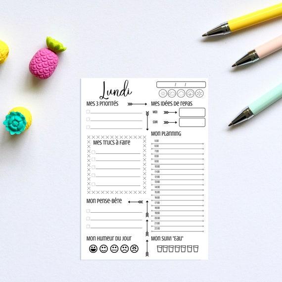 Planificateur de 7 jours (Formats A4 & A5), Noir, Agenda, Journée, Calendrier, Imprimé, Printable, Imprimable, Bullet journal, Filofax, PDF