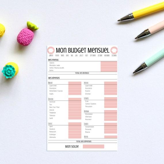 Budget mensuel, Rose, Budget, Finances, Finance, Argent, Imprimé, Printable, Imprimable, Bullet journal, Filofax, Format A4 21cmx29,7cm, PDF