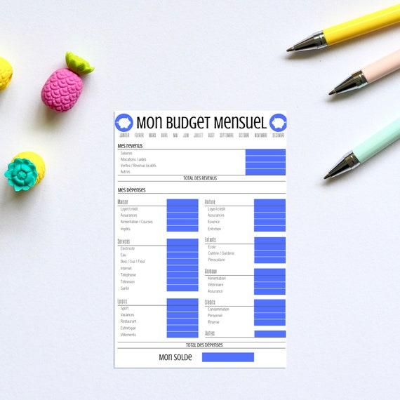 Budget mensuel, Bleu, Budget, Finances, Finance, Argent, Imprimé, Printable, Imprimable, Bullet journal, Filofax, Format A4 21cmx29,7cm, PDF