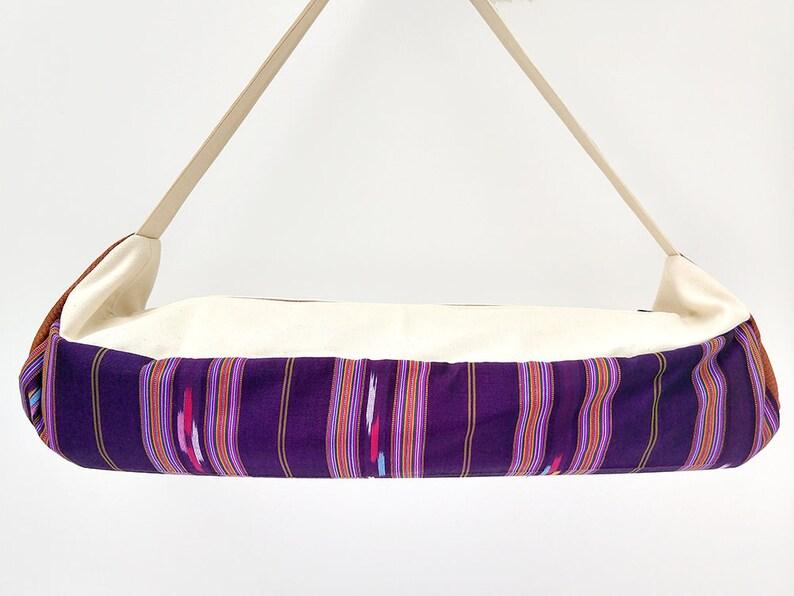Yoga Travel Bag Thai Sarong Turquoise Yoga Bag in Woven Fabric Tribal Yoga Mat Bag Teal Blue Ikat Print Large Yoga Mat Carrier