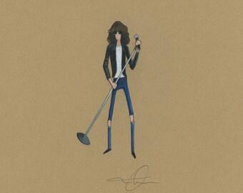Joey Ramone Original Framed Illustration