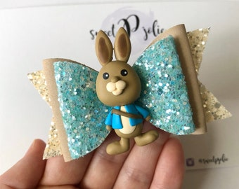 Peter Rabbit Inspired Print Faux Leather Glitter Hair Bow  Spring Easter Bunny Hair Clip Headband  Girls Newborn Baby Toddler Bow