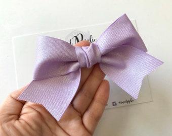 Sky Blue XL Glitter Ribbon Hair Bow  Spring Summer Day Glitter Ribbon Knotted Center Hair Bow Headband  Large Girls Newborn
