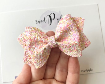 Pink Teal Spring Inspired Watercolor Floral Print Faux Leather Glitter Hair Bow  Spring Summer Hair Clip Headband  Girls Toddler Bow