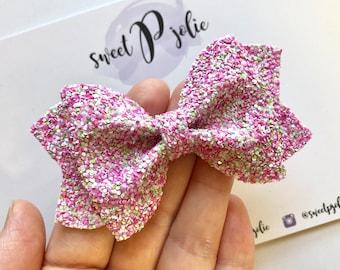 Strawberry Limeade Glitter Hair Bow // Summer Pink White Green Glitter Headband Hair Clip // Large Girls Mini Newborn Baby Bow