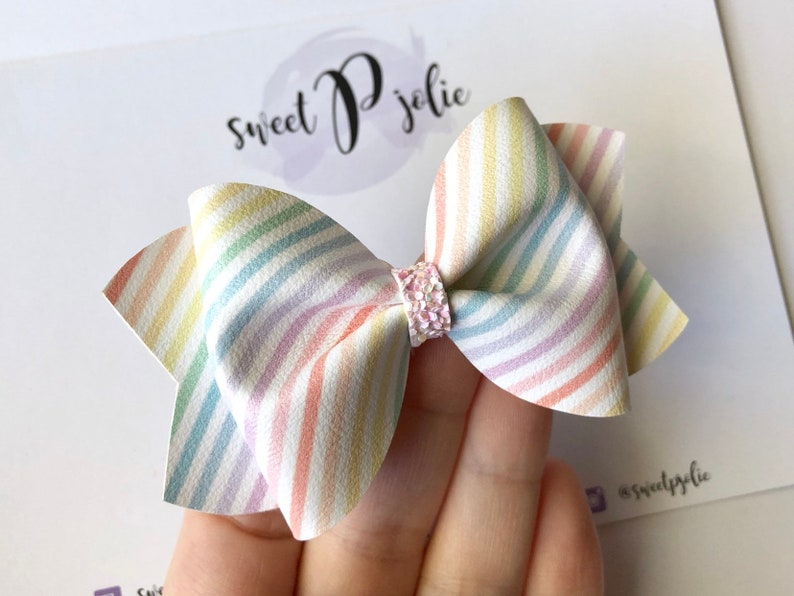 Glitter Hair Bow  Spring Easter  Hair Clip Headband  Girls Newborn Baby Toddler Hair Bow Pastel Rainbow Stripes Print Faux Leather