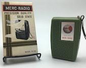 1960s Hong Kong vintage Merc Radio solid state model W-600 Avocado Green AM transistor radio. Works In original box