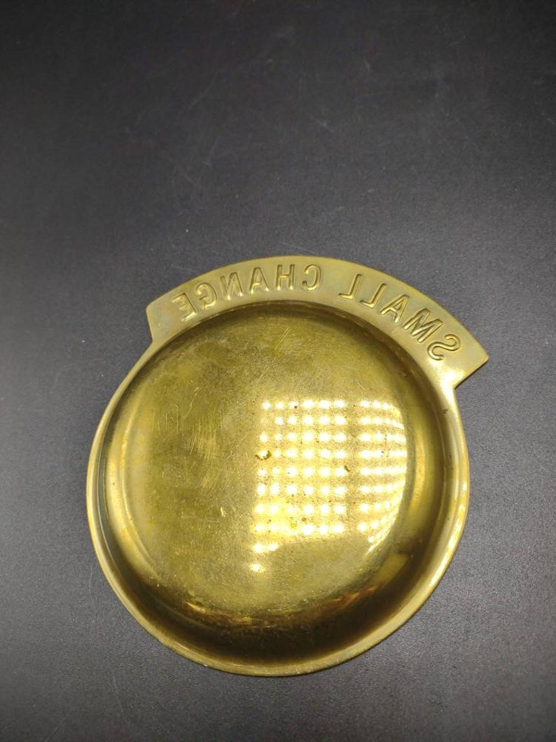 Vintage Brass Small Change Tray Dish Retro Home Decor