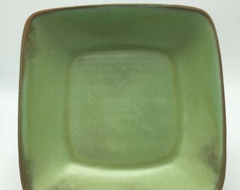 Vintage Frankoma 5NS bowl in prairie green. Lovely square bowl