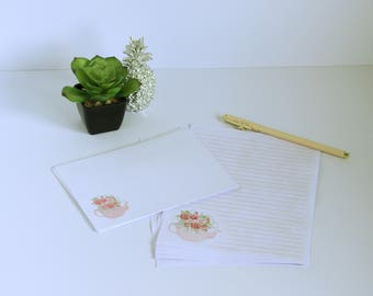 Floral teapot stationery set