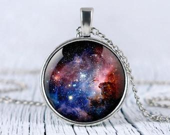 Galaxy necklace, Carina Nebula pendant Space necklace Universe jewelry