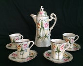 Vintage Japanese Chocolate Pot with 4 Cups and saucers Ornate coffee tea Japan