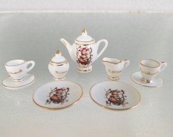Dollhouse Miniature Unfinished Metal Footed 3 Piece Tea Set