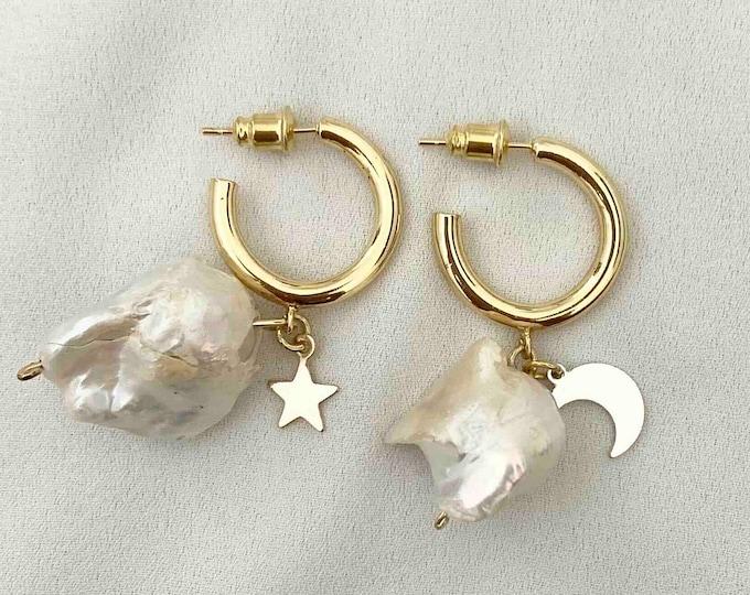 Raw Baroque pearl star moon gold hoops