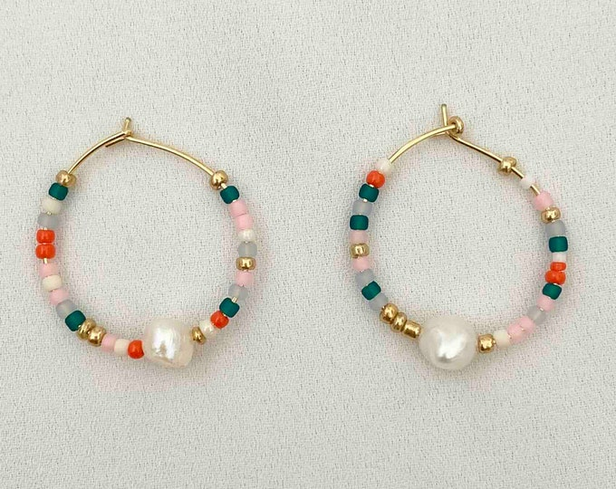 Tiny glass bead pearl gold hoops