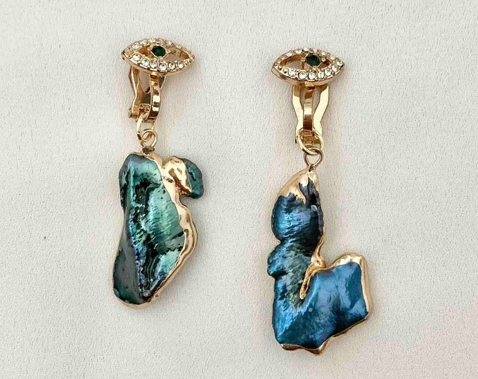 Peacock pearl Evil eye clip on earrings